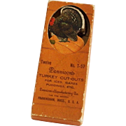 Thanksgiving decorative cut outs for ices, cakes puddings depicting Tom Turkey on top of Harvest Pumpkin Dennison Company 1920s Rare