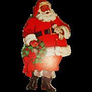 1950's lithographed Santa Claus cardboard cutout Christmas decoration Dennison Company