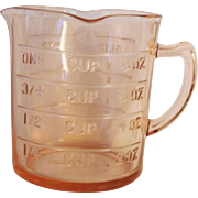 Advertising promotional premium for All Bran cereal pink Depression glass measuring cup Kellogg's Company 1935