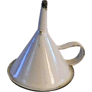 "Vintage white enamel Kitchenware funnel medium size 5"" tall graniteware enamelware"