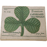 Box with 4 Dennison decorative cardboard Shamrock Cut outs for Saint Patrick's Day 1920's celebration