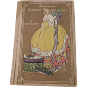 Full box decorative cardboard cut outs depicting Victorian Girl with Easter Bonnet for Easter celebration Dennison Company 1920's