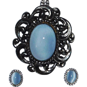 Vintage Oval light blue Moonstone glass Brooch/Pendant Necklace & matching Earring Set Sterling Silver Danecraft 1960's