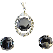 Vintage Hematite & Marcasite Pendant Necklace & matching Earring Set Sterling Silver Uncas Manufacturing 1960's