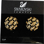 Vintage Swarovski 1 inch Clip-On Earrings Diamante crystal stones and black enamel excellent condition