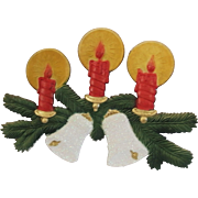 Christmas candles over glittering Bells Embossed Cardboard wall decoration German made 1990's