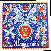"""Art tile Trivet - Norwegian Rosemaling style """"Mange Takk - Thanks So Much"""" Berggren Traynor Corporation 1950's"""