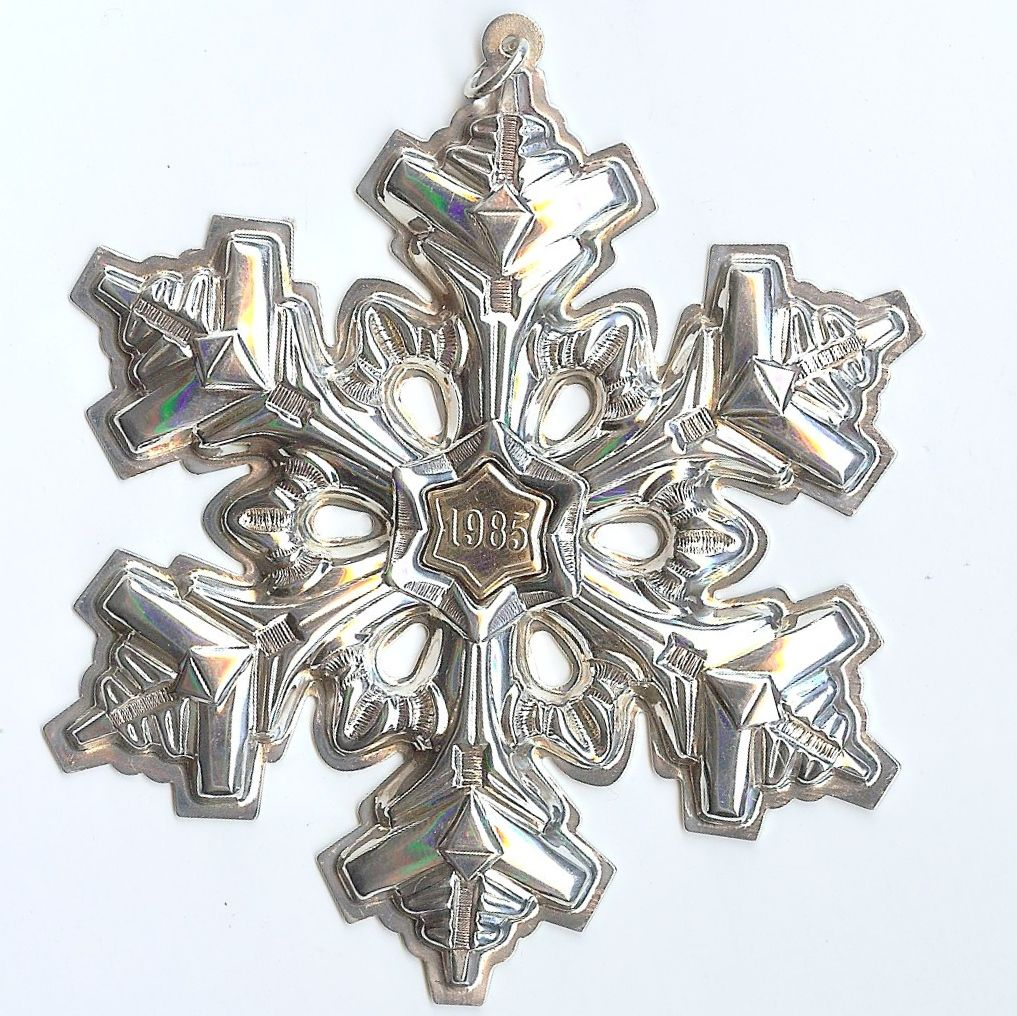 Gorham Sterling Silver with Gold Filled 1985 Year mark Snowflake Ornament/Medallion