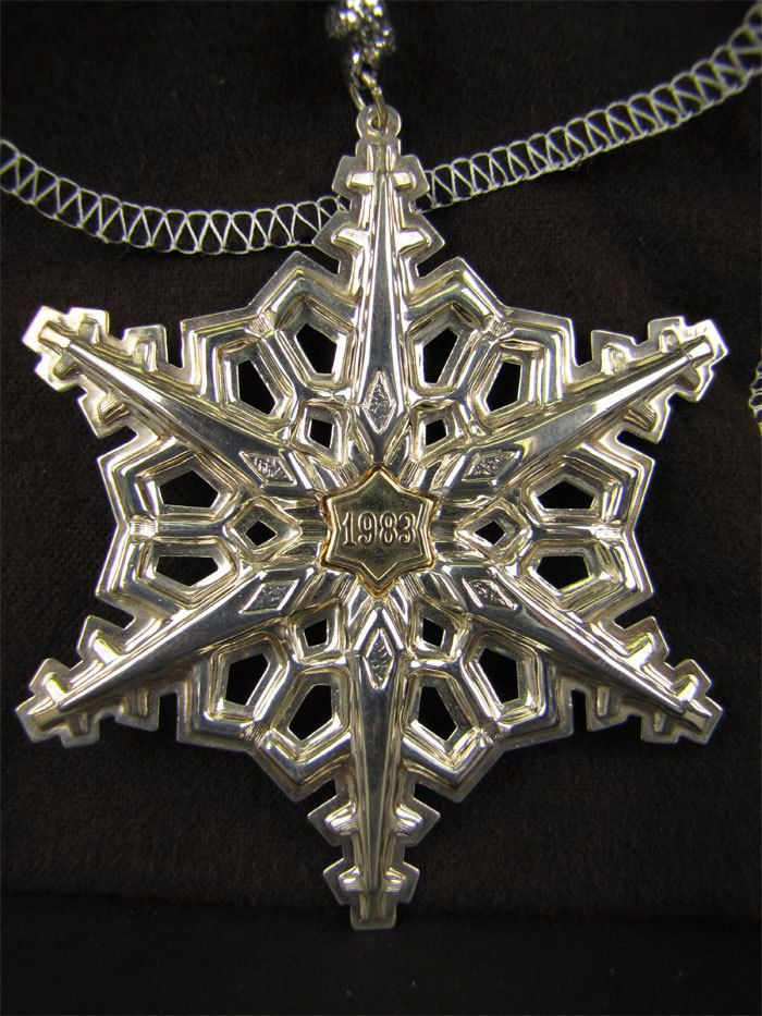 Gorham Sterling Silver with Gold Filled 1983 Year mark Snowflake Ornament/Medallion