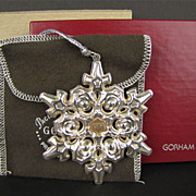 Gorham Sterling Silver with Gold Filled 1984 Year mark Snowflake Ornament/Medallion