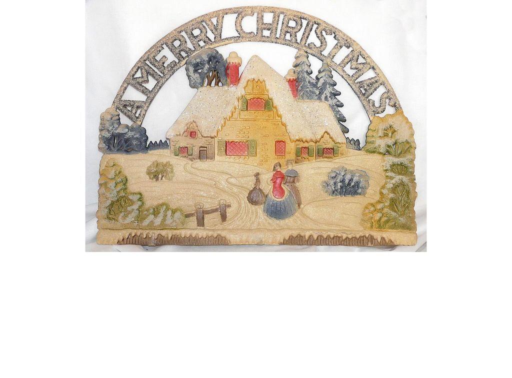 Vintage German die cut A Merry Christmas with Cottage