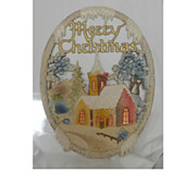 Vintage German die cut Village Church scene Merry Christmas Banner