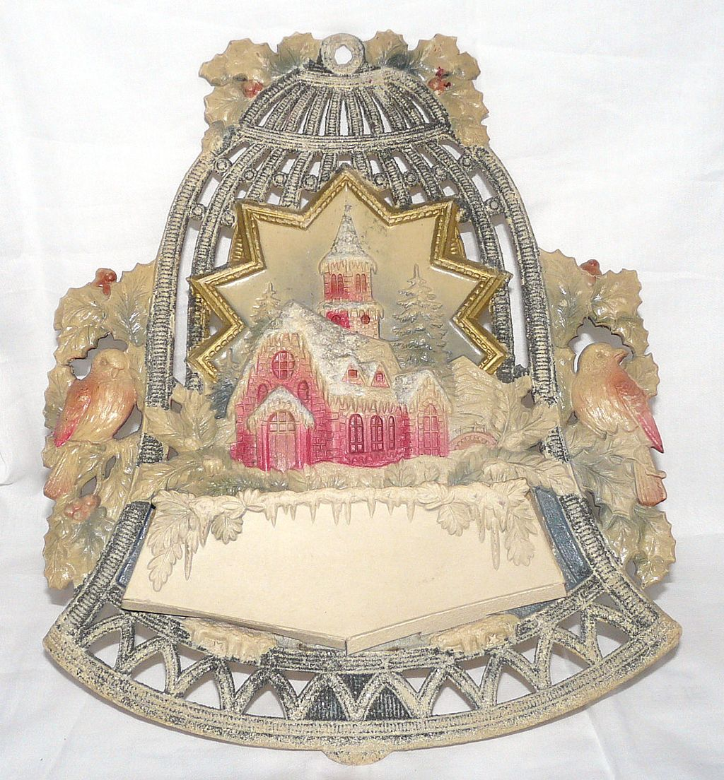 Old Die-Cut Bell Christmas card Holder Mica/glitter – Germany ...