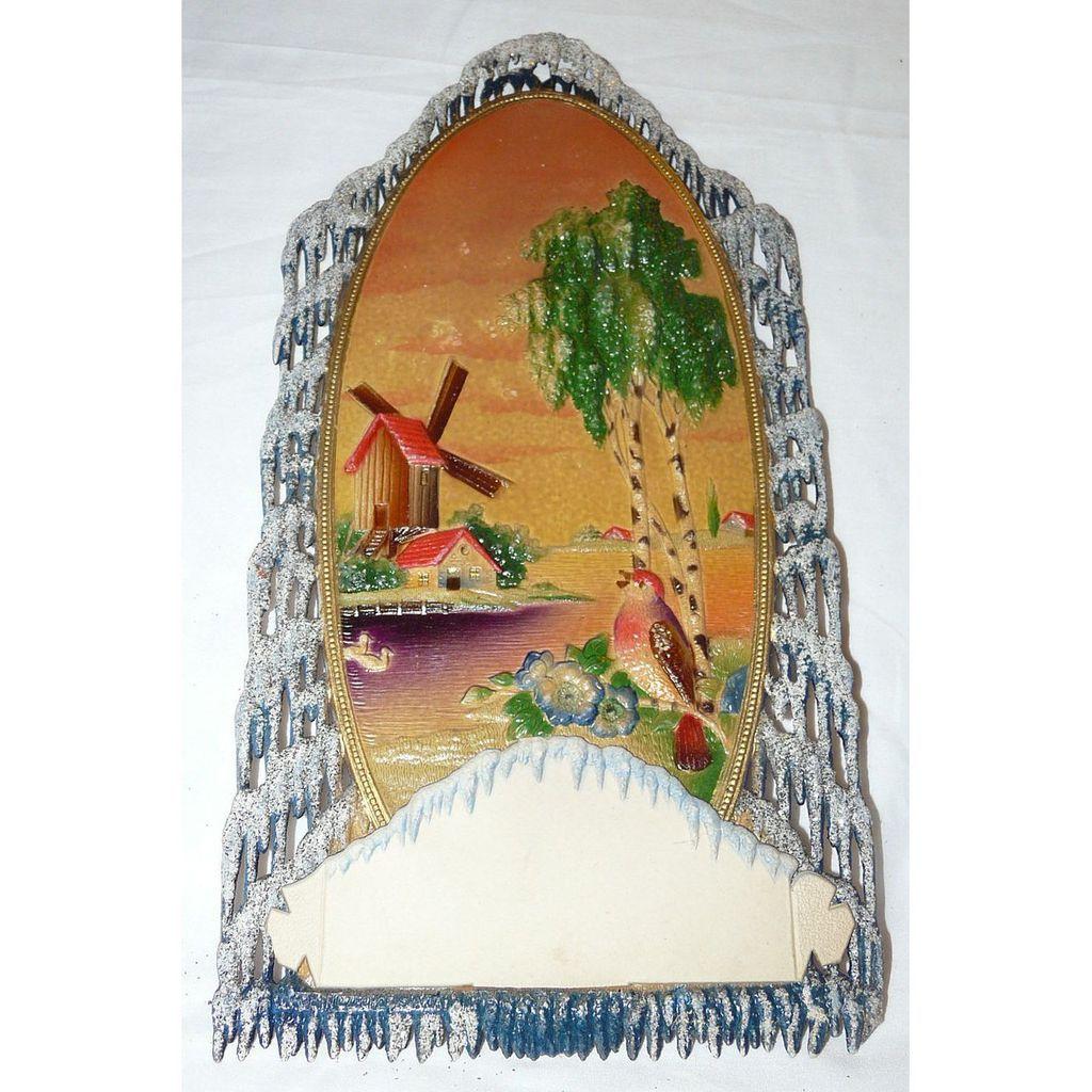 "Old Die-Cut ""Windmill on the water's edge"" Calendar Holder Mica/glitter – Czechoslovakia 1920s Excellent Near Mint!"
