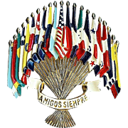 Patriotic - Amigos Siempre Flags of the Americas brooch - designer L. GABA for Coro Company 1941