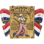 WWII Patriotic Defend Your Country Army Recruit Poster Uncle Sam brooch CORO Company 1940's