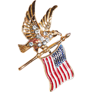 Patriotic sterling Flying Eagle with US Flag brooch Coro Company 1940's