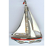 "Circa 1930s Coro ""Adolph Katz"" rhinestone and enameled sailboat brooch"