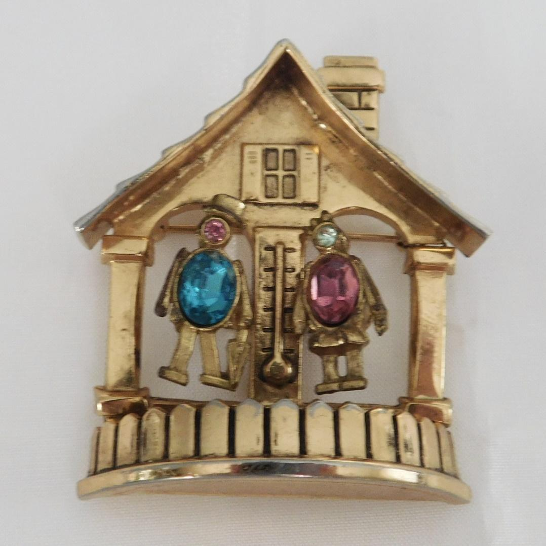 Vintage Coro 'Forecast' Weather House Pin 1947
