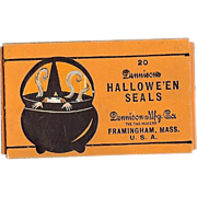 Halloween decoration twenty seals depicting a Scary Witch in a Steamy Cauldron - Dennison Company 1924