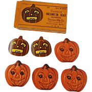 Halloween decoration gummed seals depicting a Scary Jack O Lantern Pumpkin - Dennison Company 1922