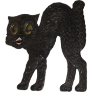 Medium size Scary arched back Black Cat cardboard Halloween decoration German 1920's