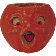 Halloween decoration pulp Paper Mache Large Double faced Choir Jack O Lantern Made in the USA 1940's