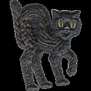 Small cardboard Black Cat Halloween decoration German 1920s Right facing