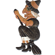 Small cardboard Flying Witch on broom Halloween decoration German 1920's
