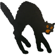 Medium size Arched back Black Cat die cut made by Dennison Company 1920's