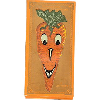 Full Boxed set of 6 Creature Carrot cut outs Halloween Decoration Dennison Company 1928
