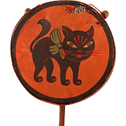 Arched back Black Cat Halloween Drum Shaker Noisemaker with bell's – Germany 1930's
