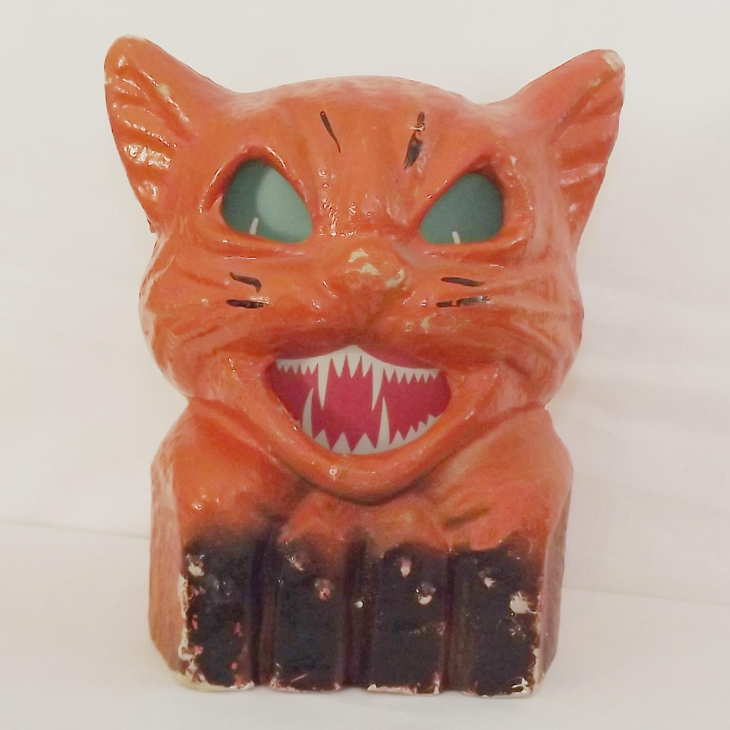 Halloween decoration pulp paper mache cat on fence jack o for Paper mache pulp