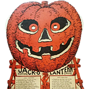 Easel back Jack O Lantern Fortune Game Halloween Decoration Beistle Company 1930's