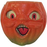 Halloween decoration pulp Paper Mache Medium Choir Jack O Lantern Made in the USA 1940's