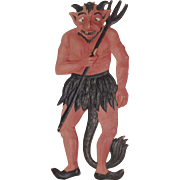 Scary Orange Devil & Pitchfork German cardboard die cut Halloween decoration 1920's