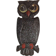 Spooky Owl German cardboard die cut Halloween decoration 1920's