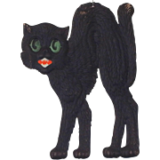 Large 15 ½ inch Scary arched back Black Cat cardboard Halloween decoration German 1920's