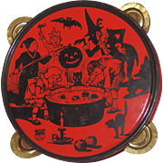 Halloween Celebration Dunking for Apples tin Tambourine Halloween decoration J. Chein USA 1930's