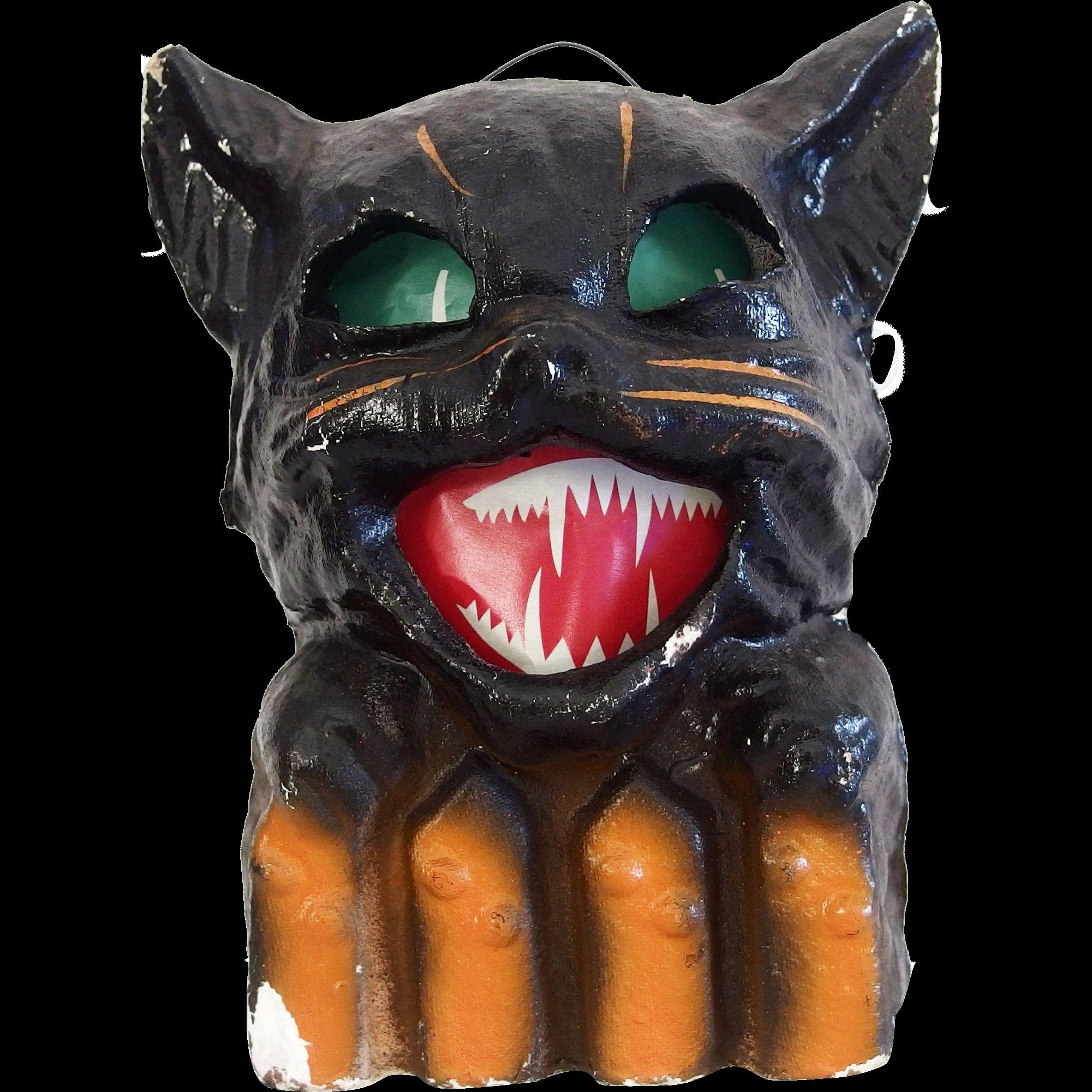 Vintage halloween paper decorations - Halloween Decoration Pulp Paper Mache Black Cat On Fence Jack O Lantern Usa 1930s
