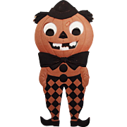 Large Halloween decoration Jack O' Lantern Man with diamond pants heavily embossed die cut – Germany 1920s