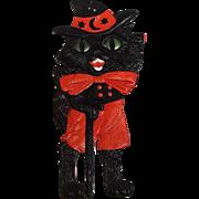 Large Halloween cardboard decoration Waving Black Cat with Walking Stick Germany 1920s