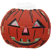 Small size Dual sided Jack O Lantern Pumpkin Face slot and tab lantern USA Fibro Toy by Dolly Toy Company 1935 – 1950