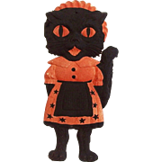Medium size painted cardboard die cut Black Cat dressed as a Maid Halloween decoration German 1920's Hard to find
