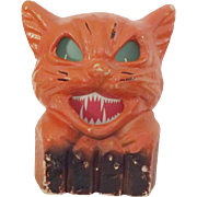 Halloween decoration pulp Paper Mache Cat on fence Jack O Lantern USA Nice