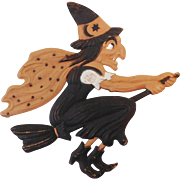 Large Flying Witch on broom German cardboard die cut Halloween decoration 1920's