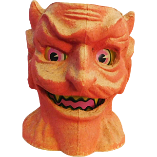 Halloween decoration pulp Paper Mache Scary Devil head Jack O Lantern Made in USA Nice