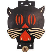 Large Art Deco cardboard cat face Tommy Whiskers Lantern Halloween decoration 1938 - 1941 Beistle Co. USA