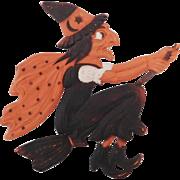 Large Flying Witch on broom German cardboard die cut Halloween decoration 1920's