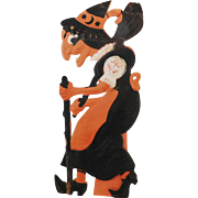 Large vintage German die cut embossed Halloween decoration – Walking Witch